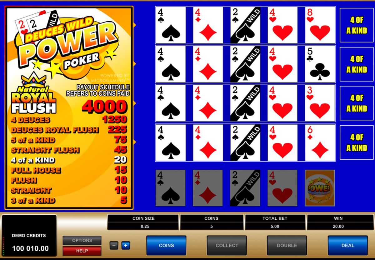 deuces wild 4 play power poker microgaming